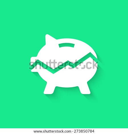 white broken piggy bank with long shadow. concept of poverty, commerce, frugality, economics, success, payment, thrift, growth of income, statistics. flat style modern logo design vector illustration - stock vector