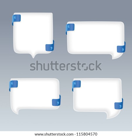 White Bubbles with Quote Marks on blue Ribbons - stock vector
