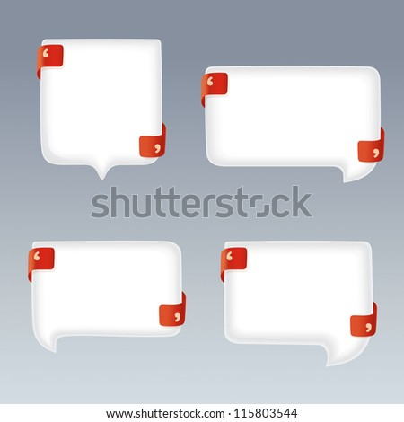 White Bubbles with Quote Marks on red Ribbons - stock vector