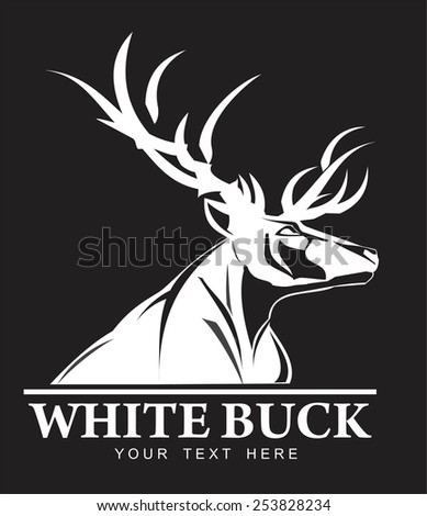 White Buck, symbolizing power, protection, dignity, etc. Suitable for team Mascot ,community identity, product identity, sign, icon, illustration for apparel, clothing, illustration, etc - stock vector