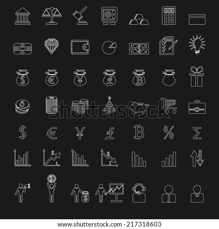 white buisness, finance icons set on black background. Vector illustrations