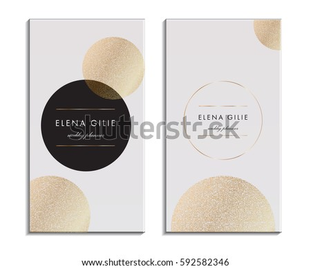 White Business Card Template Or Gift Cards Texture Of Gold Foil Luxury Vector Illustration