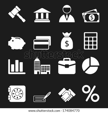 White Business Icons Set - stock vector