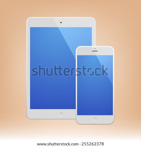 White Business Phone and White tablet with blue screen and reflection. Illustration Similar To iPhone, iPad. - stock vector