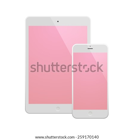 White Business Phone and White tablet with pink screen. Illustration Similar To iPhone, iPad. - stock vector
