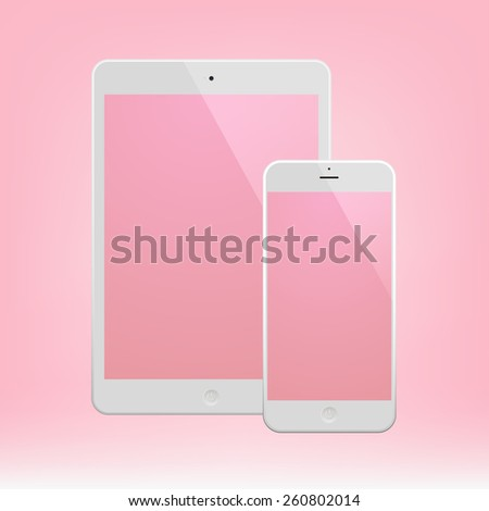 White Business Phone and White tablet with pink screen. Illustration Similar To iPhone iPad. - stock vector