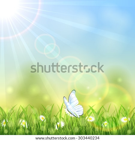 White butterfly and flowers on sunny background, illustration. - stock vector