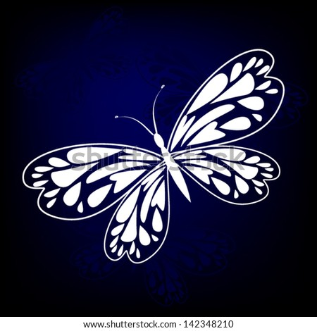 white butterfly on a blue background with wings from hearts - stock vector