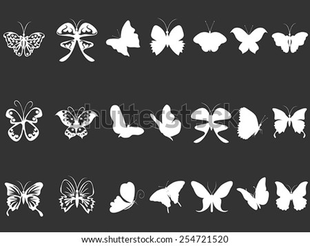 white butterfly silhouettes - stock vector