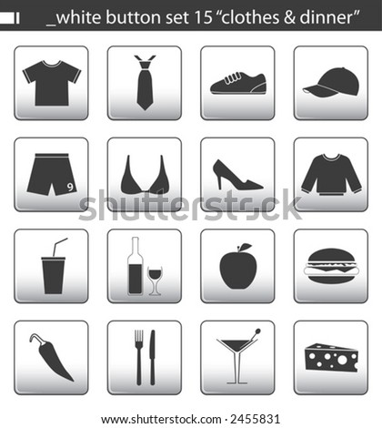 "white button set 15 ""clothes & dinner"" - stock vector"