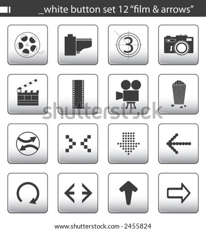"white button set 12 ""film & arrows"" - stock vector"
