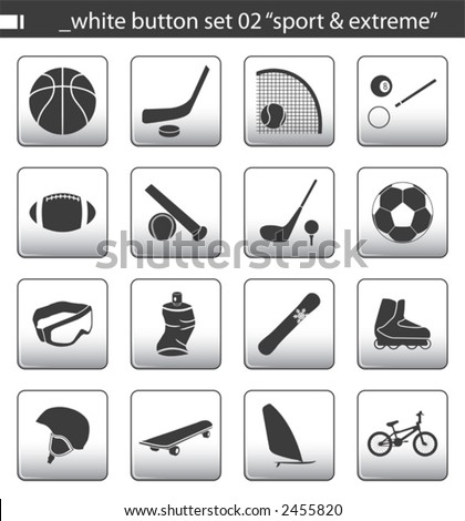 "white button set 02 ""sport & extreme"" - stock vector"