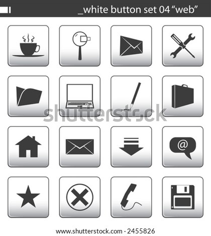"white button set 04 ""web"" - stock vector"