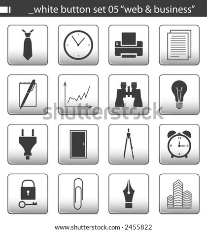"white button set 05 ""web & business"" - stock vector"