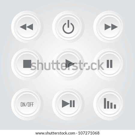 white buttons play with sign over white background. vector - stock vector