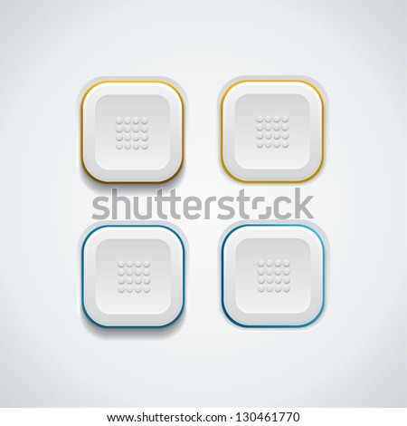 White buttons - square - stock vector
