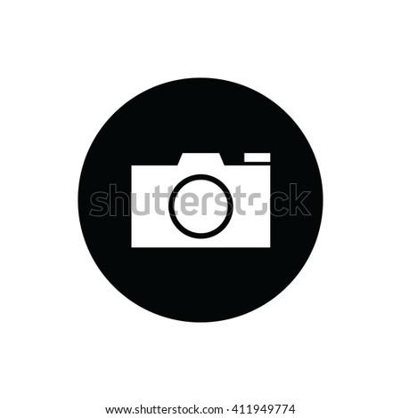 White camera vector icon. Black circle. Black button - stock vector