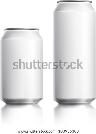 White can vector visual 330 ml & 500 ml, ideal for beer, lager, alcohol, soft drinks, soda, fizzy pop, lemonade, cola, energy drink, juice, water etc. Drawn with mesh tool. Fully adjustable & scalable - stock vector