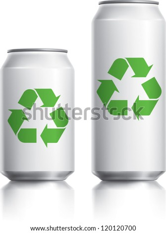 White can vector visual 330 ml & 500 ml, with green recycle logo. Drawn with mesh tool. Fully adjustable & scalable - stock vector