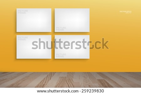 White canvas frame on yellow wall background in room space. Vector illustration. - stock vector