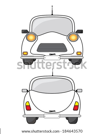 White car, front and back view. - stock vector