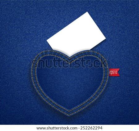 White card on blue jean  heart back pocket - stock vector