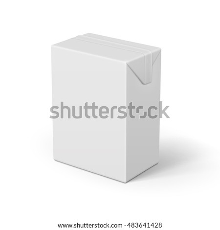 White cardboard brick package for dairy products, juice or beverage. 0.2 l. Ready for your design. Packaging collection. Vector illustration.