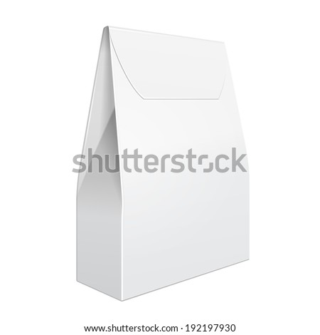 White Cardboard Carry Box Bag Packaging For Food, Gift Or Other Products. On White Background Isolated. Ready For Your Design. Product Packing Vector EPS10 - stock vector