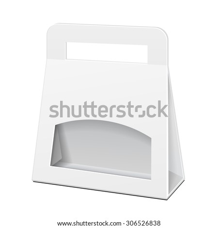 White Cardboard Carry Box Bag Packaging With Handles For Food, Gift Or Other Products. Illustration Isolated On White Background. Mock Up Template Ready For Your Design. Vector EPS10 - stock vector