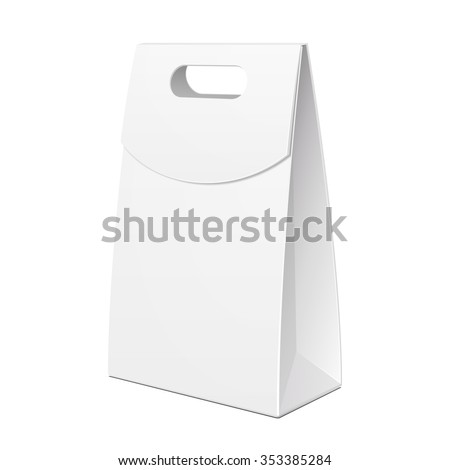 White Cardboard Carry Box Bag Packaging With Handles For Food, Gift Or Other Products. Illustration Isolated On White Background. Mock Up Template Ready For Your Design. Product Packing Vector EPS10 - stock vector