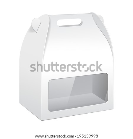 White Cardboard Carry Box Packaging For Food, Gift Or Other Products With Window. On White Background Isolated. Ready For Your Design. Product Packing Vector EPS10