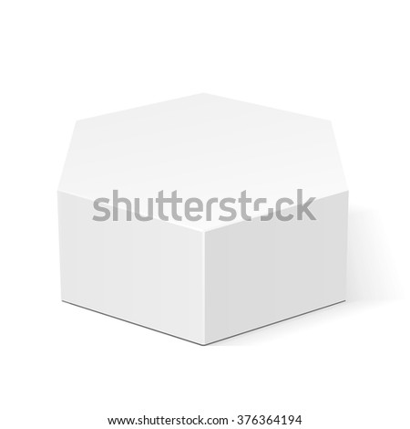 White Cardboard Hexagon Box Packaging For Food, Gift Or Other Products. Illustration Isolated On White Background. Mock Up Template Ready For Your Design. Product Packing Vector EPS10 - stock vector