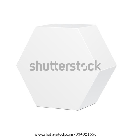 White Cardboard Hexagon Carry Box Bag Packaging For Food, Gift Or Other Products. On White Background Isolated. Ready For Your Design. Product Packing Vector EPS10 - stock vector
