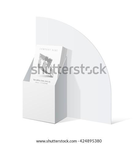 White Cardboard holder for brochures and flyers. Vector Illustration - stock vector