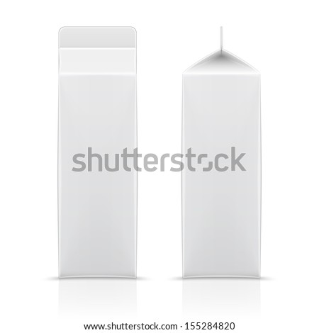White cardboard package for diary products, juice or beverage. Ready for your design. Packaging collection. Vector illustration. - stock vector