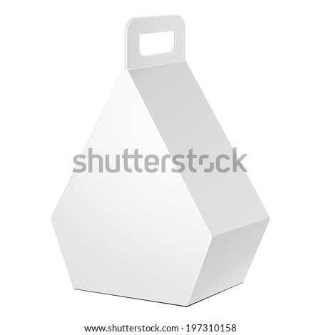 White Cardboard Pentagonal Carry Box Bag Packaging For Food, Gift Or Other Products. On White Background Isolated. Ready For Your Design. Product Packing Vector EPS10 - stock vector