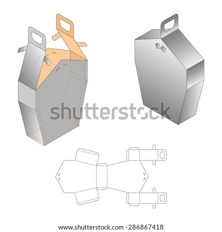 White Cardboard Pentagonal Carry Box Bag Packaging, Isolated On White Background. Die-stamping, Ready For Your Design - stock vector