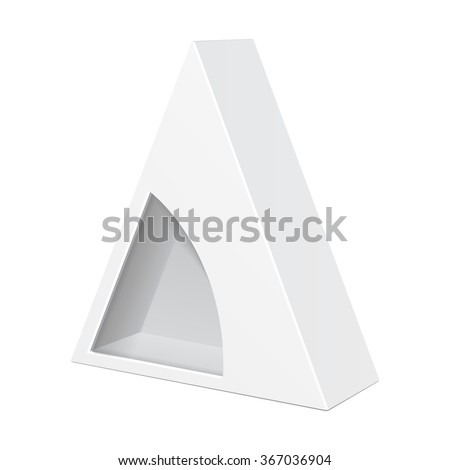 White Cardboard Triangle Box Packaging For Food, Gift Or Other Products With Window. Illustration Isolated On White Background. Mock Up Template Ready For Your Design. Product Packing Vector EPS10  - stock vector