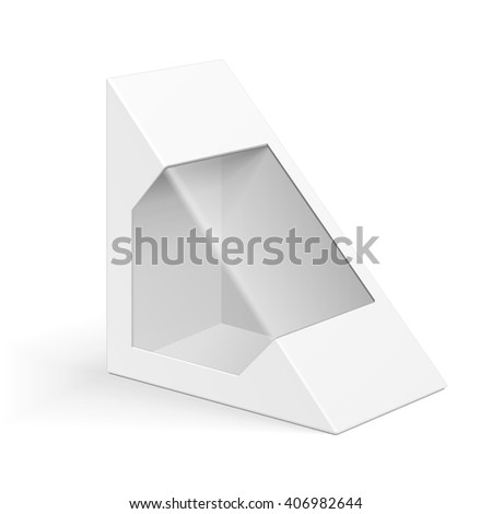 White Cardboard Triangle Box Packaging For Sandwich, Food, Gift Or Other Products. Illustration Isolated On White Background. Mock Up Template Ready For Your Design. Product Packing Vector EPS10 - stock vector