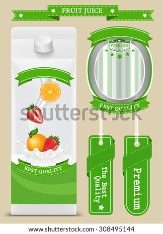 White carton boxes with Label vector visual, ideal for fruit juice or milk. Can drawn with mesh tool. Fully adjustable & scalable. packages design - stock vector