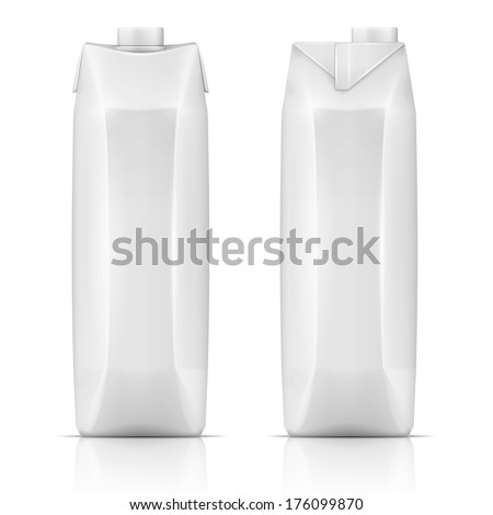 White carton pack template for beverage: juice, milk. Front and side view. Packaging collection. Vector illustration. - stock vector
