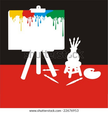 White cartoon painter stutff silhouette with canvas stained by colors in a red and black background. - stock vector