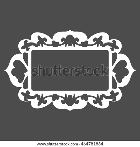 white carved frame for picture or photo with shadow on grey background