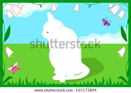 White cat on a spring meadow with flowers and butterflies