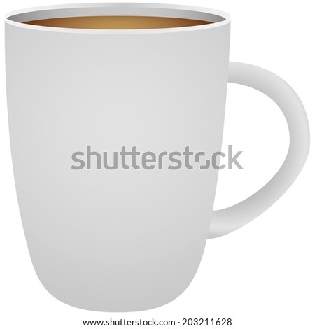 White ceramic cup with coffee. Vector illustration. - stock vector