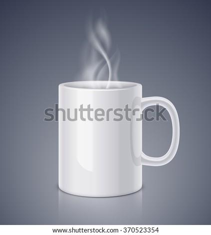 White ceramic mug and steam. Realistic vector illustration - stock vector