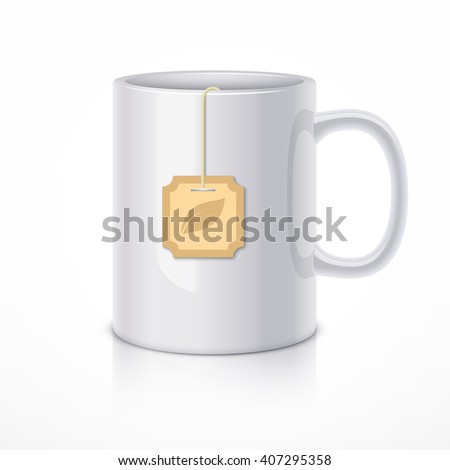 White ceramic mug with tea bag. Realistic vector illustration