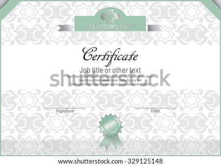 White certificate with light green and gray elements. Official certificate
