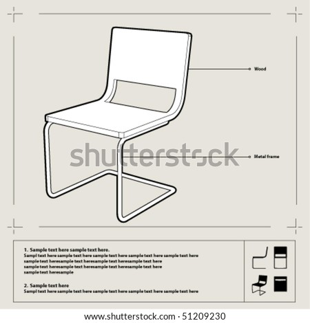 White chair blueprint. Perspective view with annotations. Vector. - stock vector