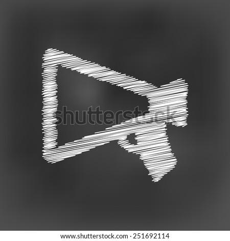 white chalk megaphone icon on black board background(vector) - stock vector